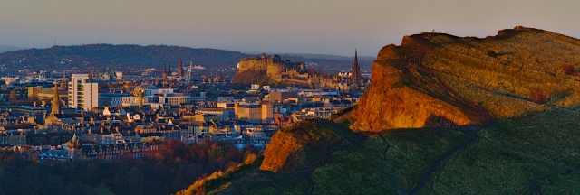 Salisbury Crags & Castle from Arthur's Seat